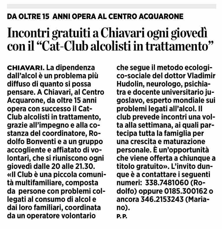 2017.10.13 Il Secolo XIX - Incontri gratuiti a Chiavari ogni giovedì con il Cat Club alcolisti in trattamento
