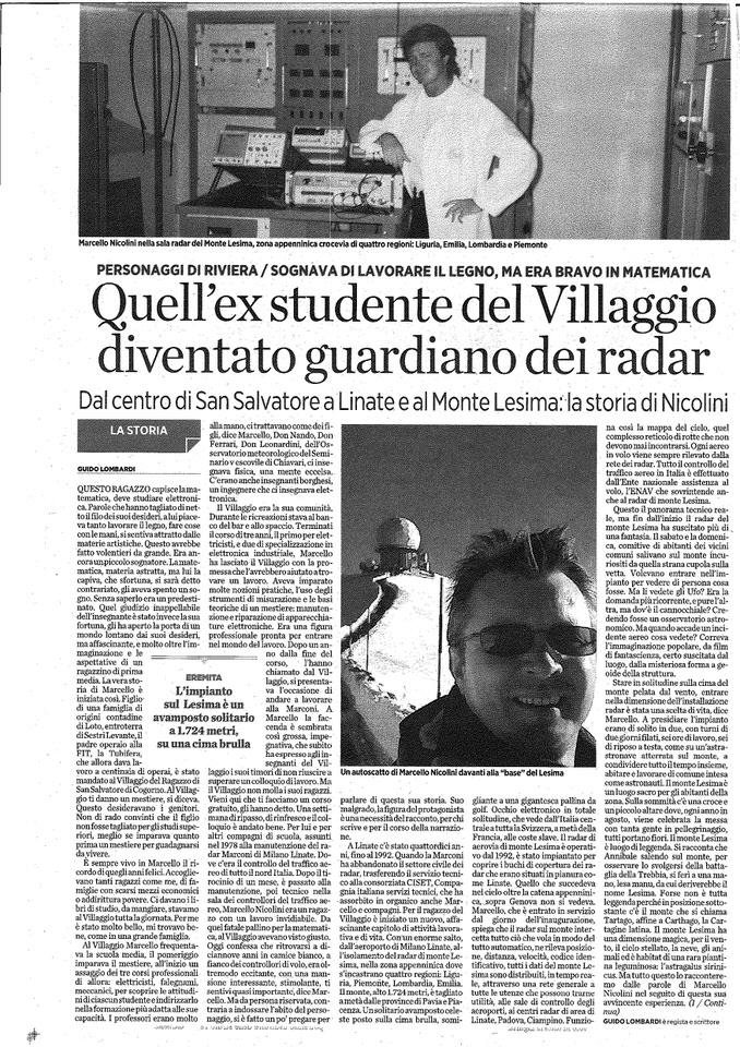 2012.06.12 Il Secolo XIX - Quel ex studente del Villaggio diventato guardiano del radar