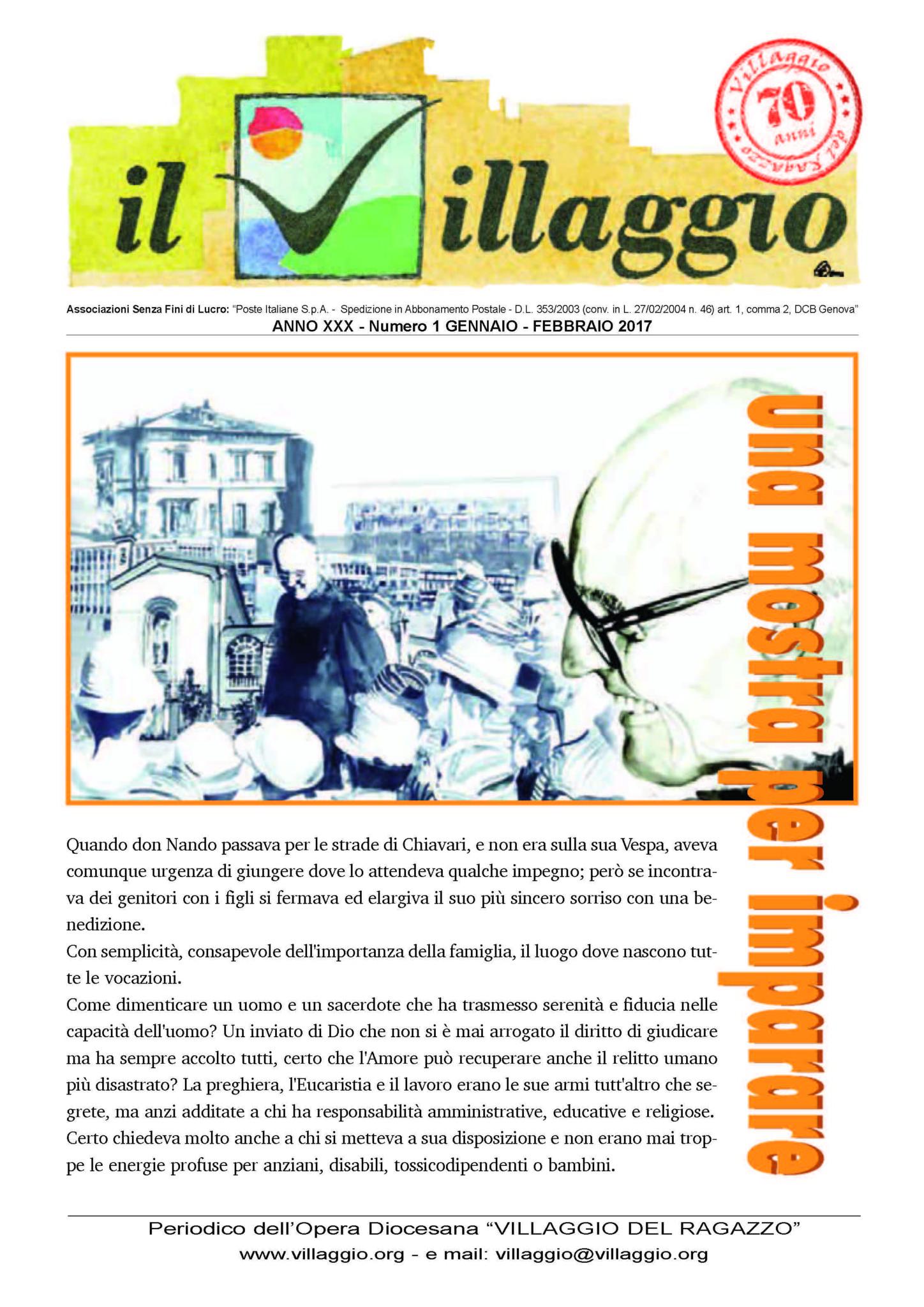 Periodico Il Villaggio - Anno XXX n°1 gennaio-febbraio 2017