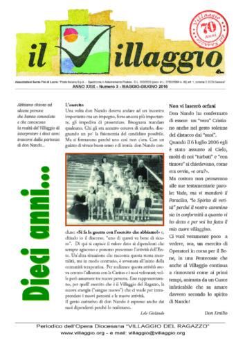 Periodico Il Villaggio - Anno XXIX n°3 maggio-giugno 2016