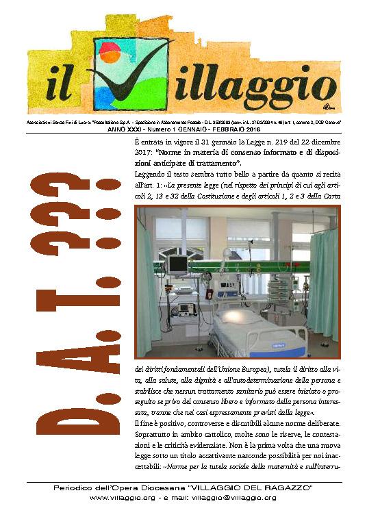 Periodico Il Villaggio 2018.01-02 Copertina