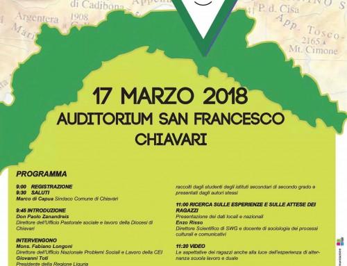 """Diocesi di Chiavari: convegno """"Giovani e Lavoro… Il mio futuro e la Liguria"""" il 17 marzo all'Auditorium"""