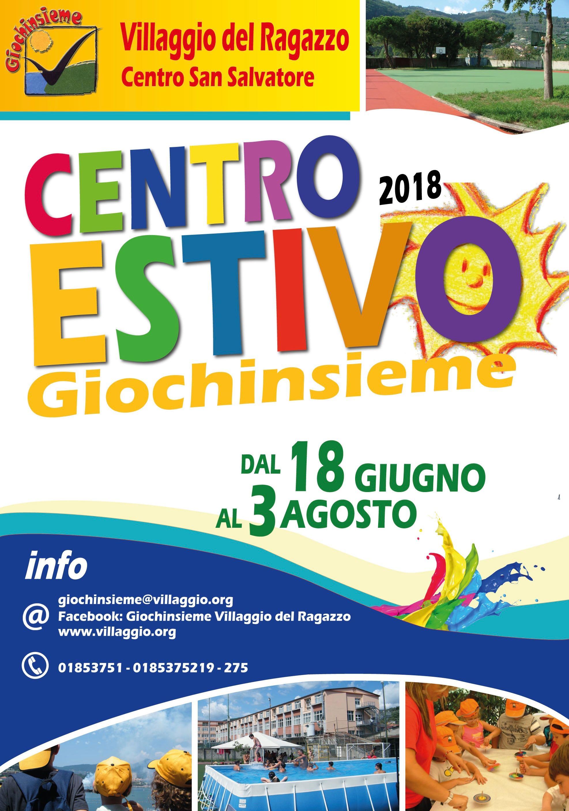Centro Estivo Giochinsieme 2018 Villaggio del Ragazzo - manifesto