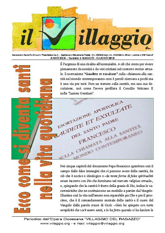 Periodico Il Villaggio - Anno XXXI n°3 maggio-giugno 2018