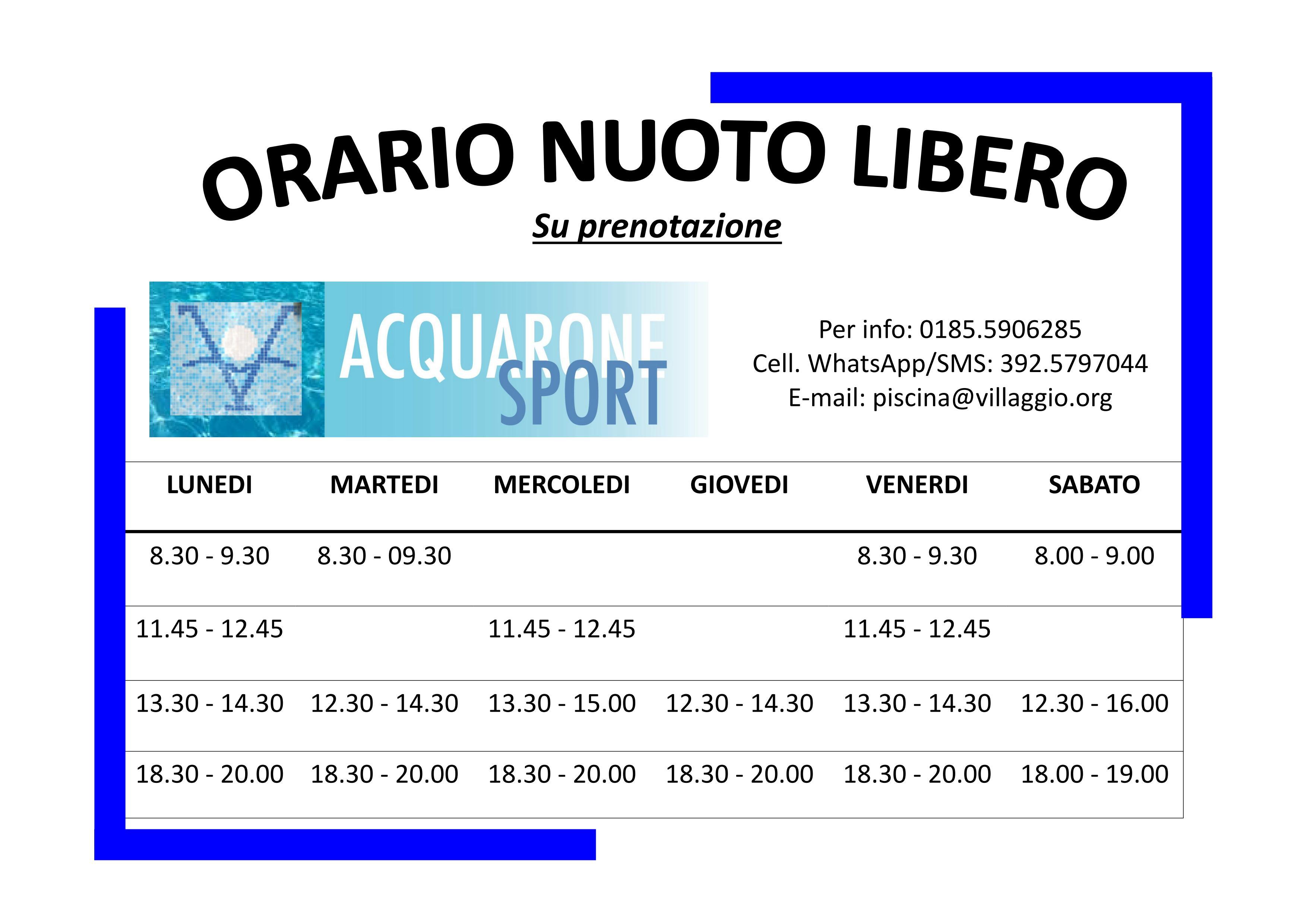 Acquarone Sport - Orario nuoto libero 2018-2019