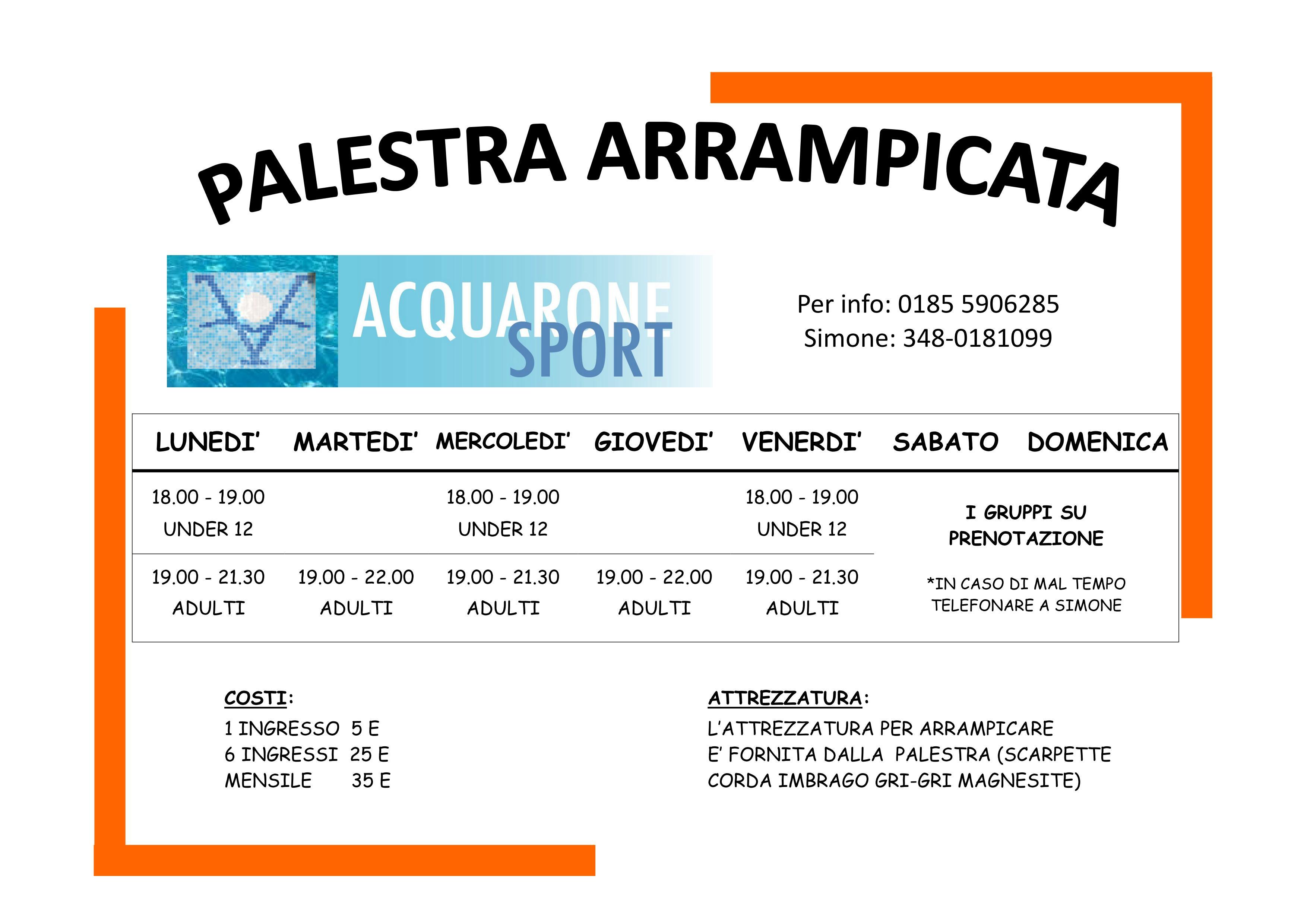 Acquarone Sport - Orario palestra arrampicata