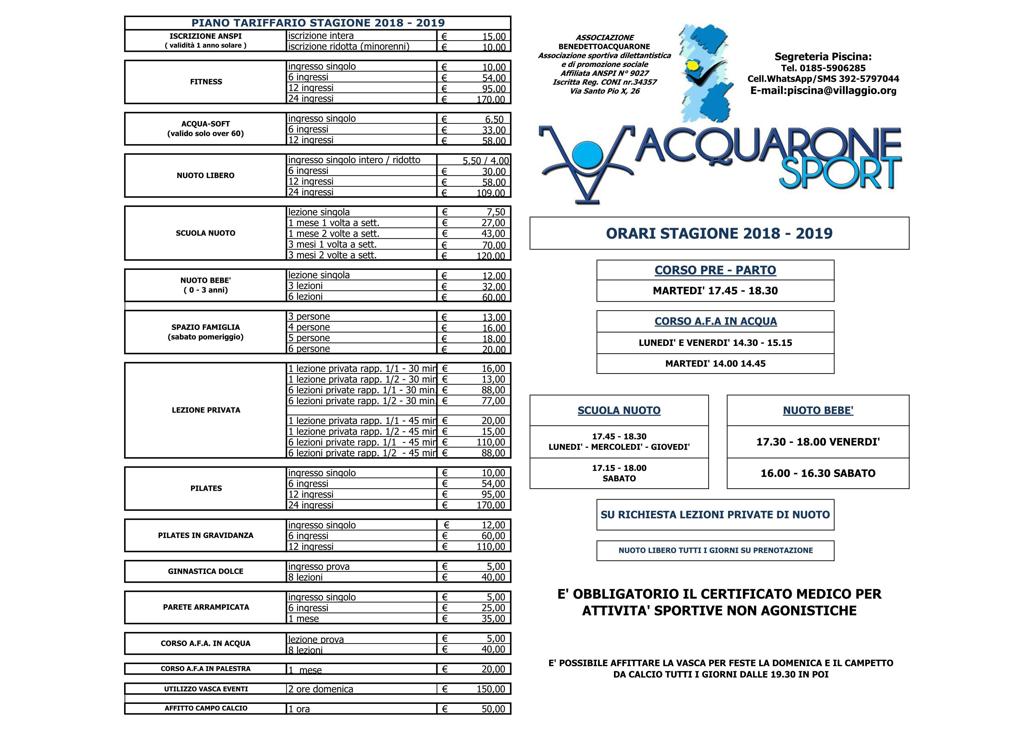 Acquarone Sport - Prezzi 2018-2019