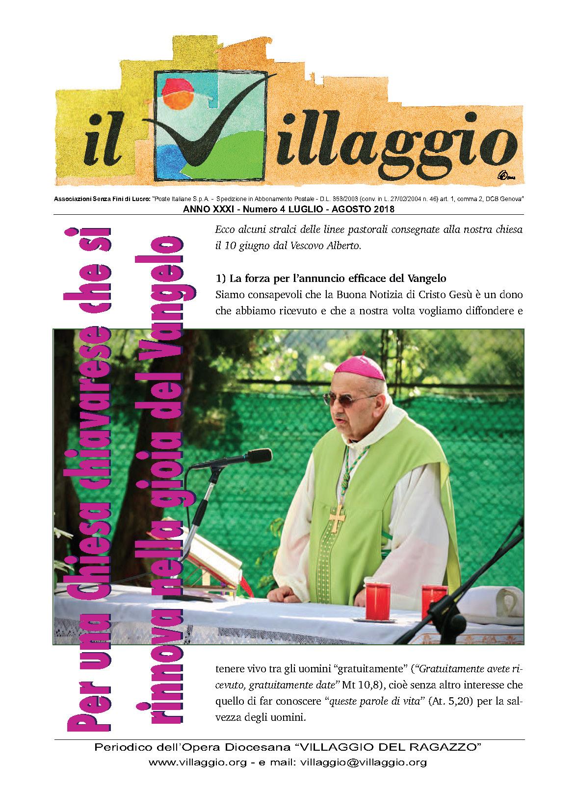 Periodico Il Villaggio - Anno XXXI n°4 luglio-agosto 2018