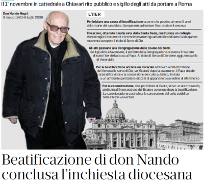 2018.10.10 Il Secolo XIX - Beatificazione di don Nando, conclusa l'inchiesta diocesana - copertina