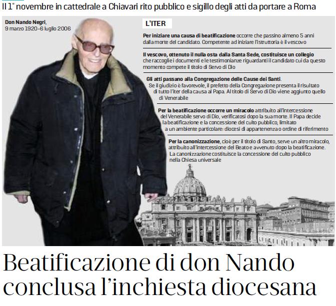 Nel giorno del 72° compleanno del Villaggio la notizia della conclusione dell'inchiesta diocesana sulla beatificazione di don Nando