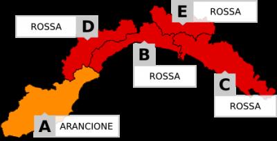 Allerta Meteo Rossa Regione Liguria 2018.10.29