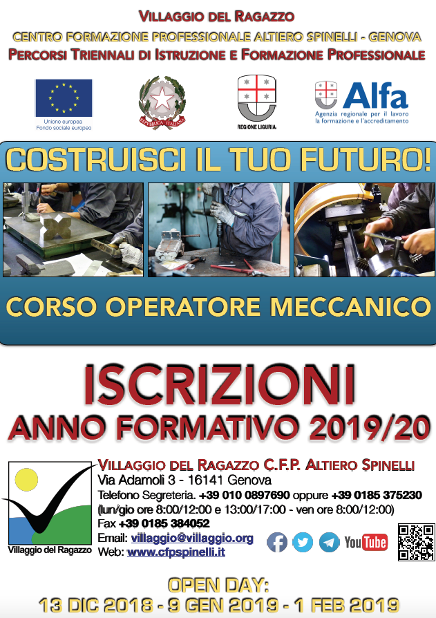 CFP A.Spinelli Villaggio del Ragazzo - Iscrizioni 2019-20 Formazione Professionale + Open Day