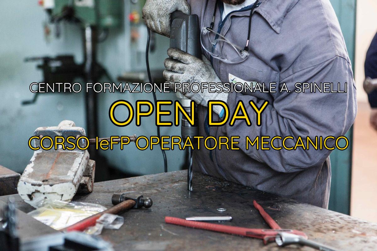 Copertina Open Day Corso Operatore Meccanico CFP Spinelli
