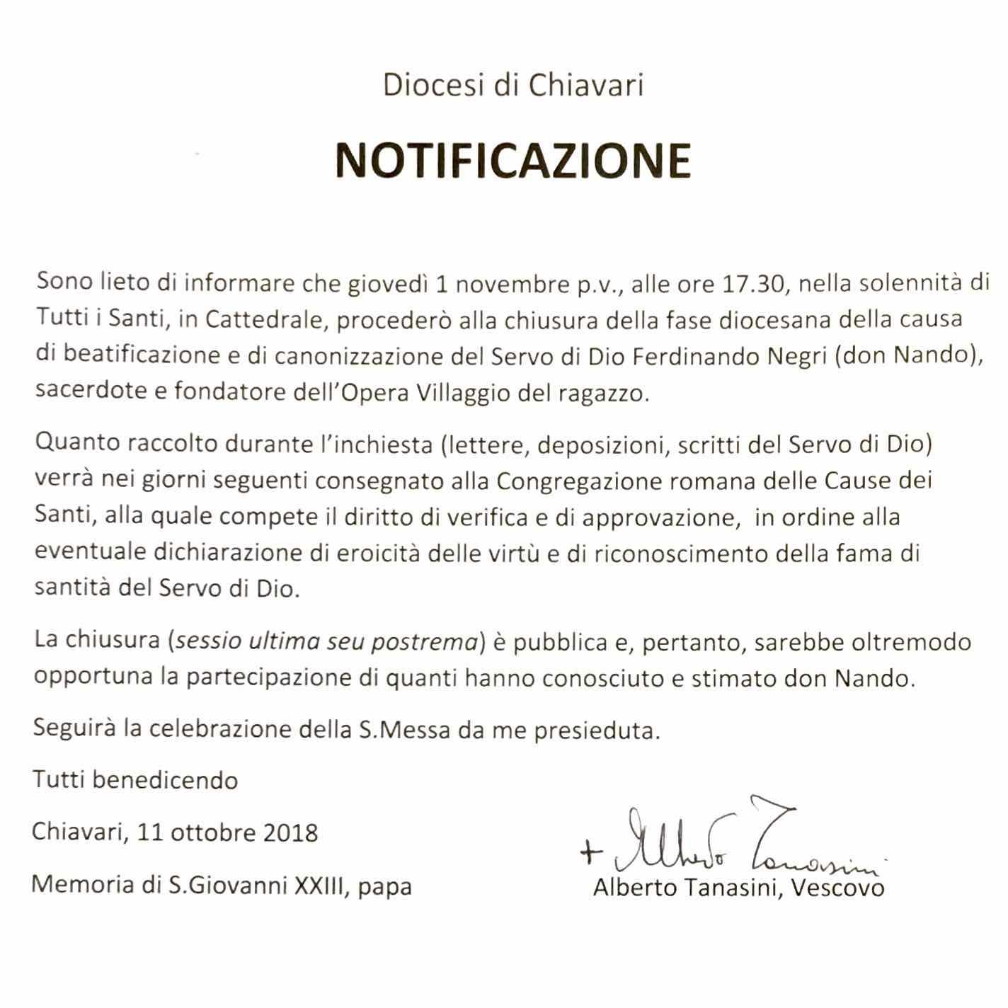 Diocesi di Chiavari - Notificazione chiusura processo diocesano beatificazione don Nando Negri