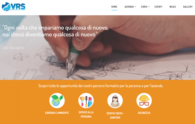 Homepage sito web VRS Formazione