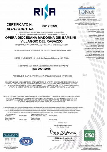 Villaggio del Ragazzo - Certificato ISO 2015