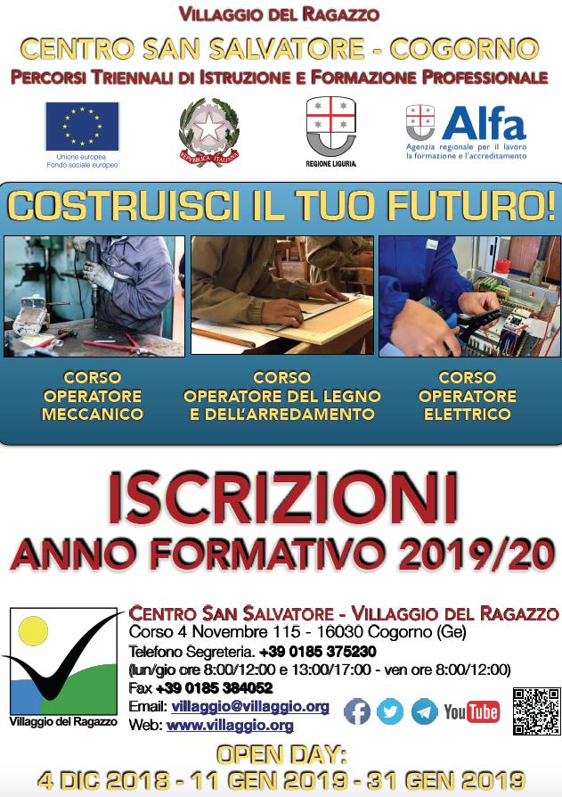 Villaggio locandina Iscrizioni 2019-20 Formazione Professionale + Open Day