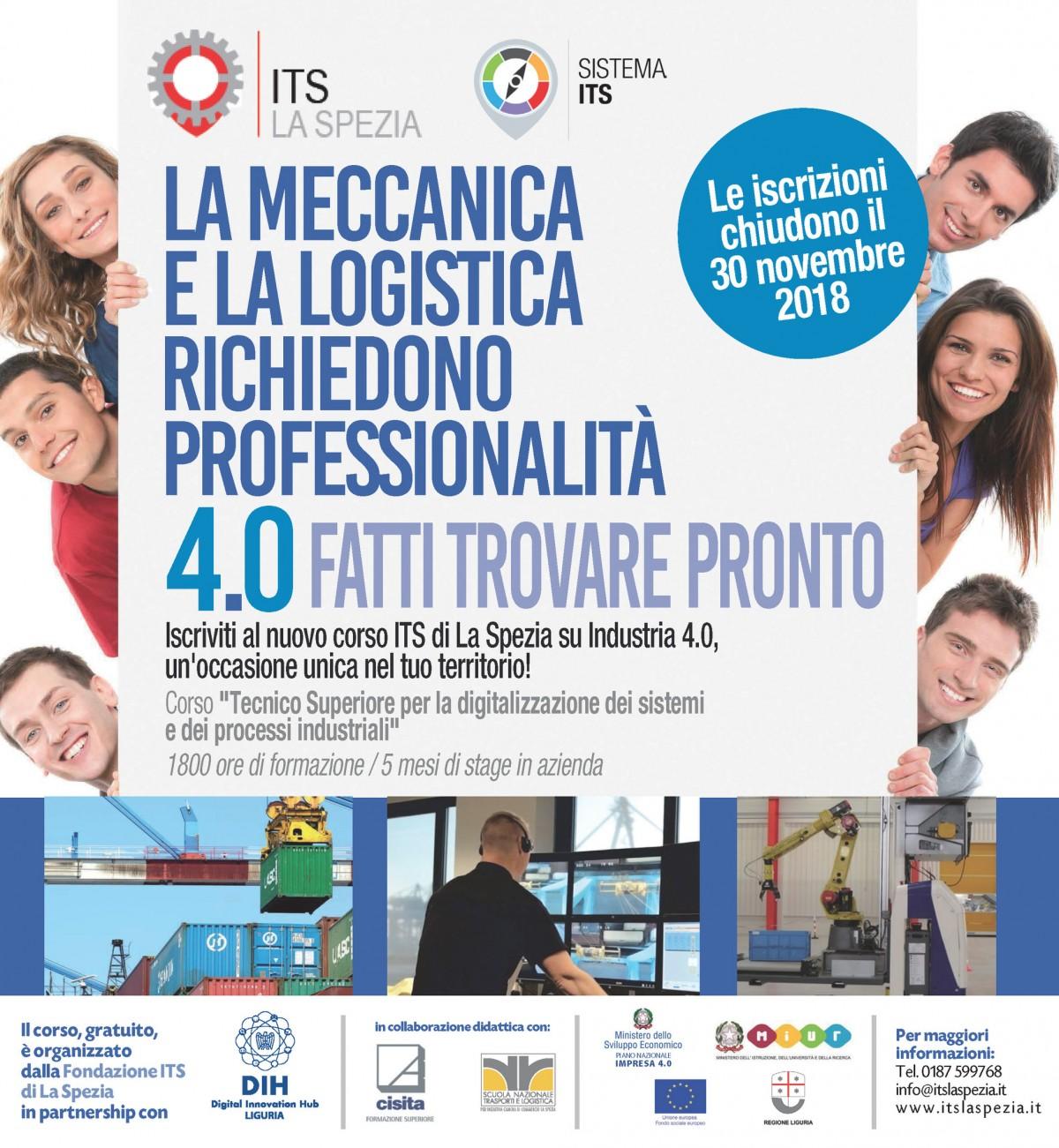 Corso ITS La Spezia Tecnico Superiore per la digitalizzazione dei sistemi e dei processi industriali - volantino