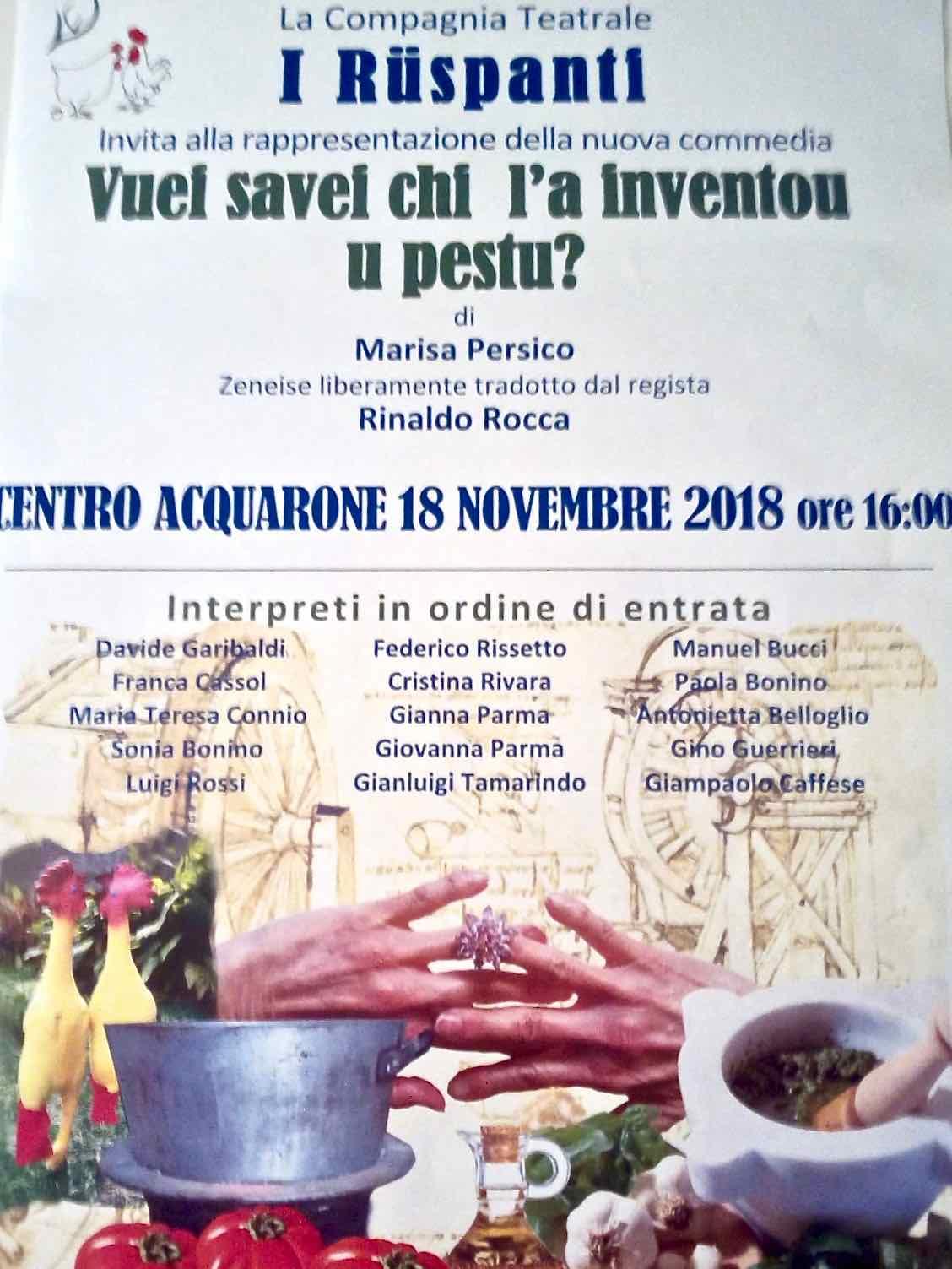 I Ruspanti - Vuei savei chi la inventou u pestu? - Centro Benedetto Acquarone 2018.11.18