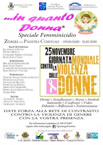 In quanto donna - Speciale femminicidio - Volantino incontro Giornata contro la violenza sulle Donne 2018