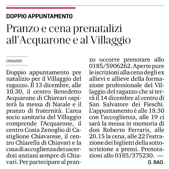 2018.12.06 Il Secolo XIX - Pranzo e cena prenatalizi all'Acquarone e al Villaggio
