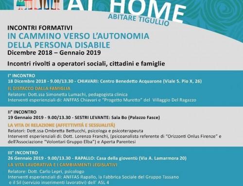 """Progetto """"At Home – Abitare Tigullio"""": proseguono gli incontri formativi sull'autonomia della persona disabile"""