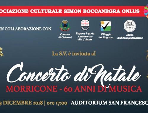 """""""Morricone – 60 anni di musica"""": concerto di Natale con i solisti dell'Orchestra Chiavari Classica"""