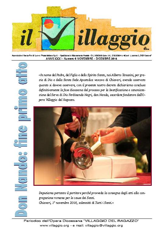 Periodico Il Villaggio - Anno XXXI n°6 novembre-dicembre 2018