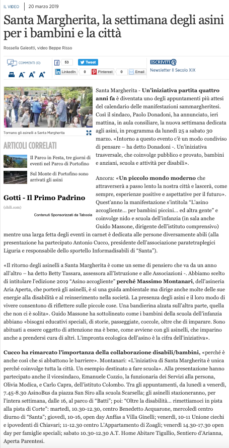 2019.03.20 Il Secolo XIX - Santa Margherita, la settimana degli asini per i bambini e la città