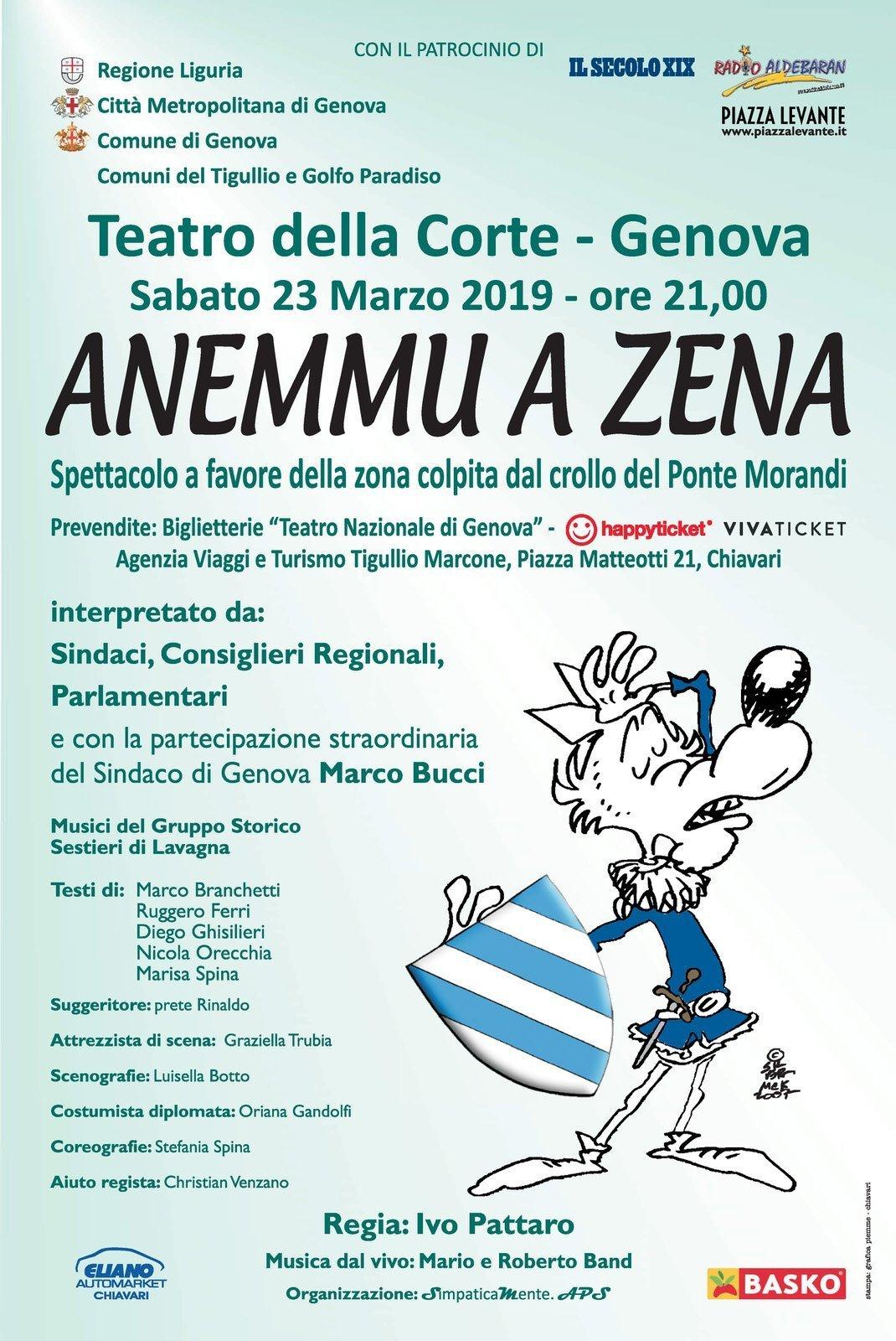 """Sabato 23 marzo a Genova lo spettacolo di beneficenza """"Anemmu a Zena"""" in favore della zona colpita dal crollo del Ponte Morandi"""