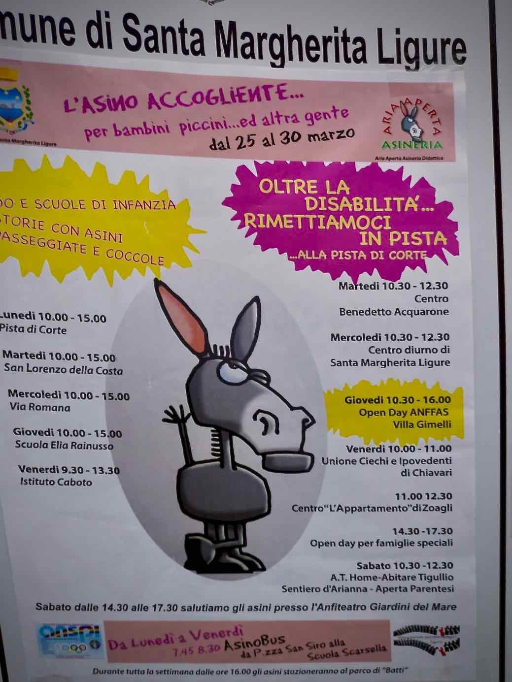 L'Area della Disabilità del Centro Acquarone all'iniziativa L'asino accogliente... per bambini piccini e altra gente di Santa Margherita Ligure - 1
