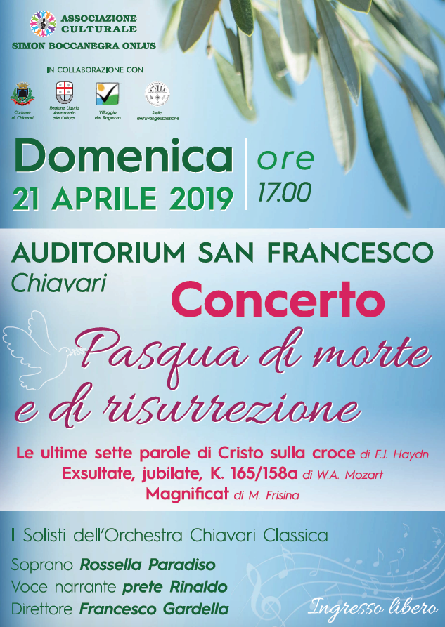Concerto di Pasqua a cura dell'Associazione Culturale Simon Boccanegra Onlus