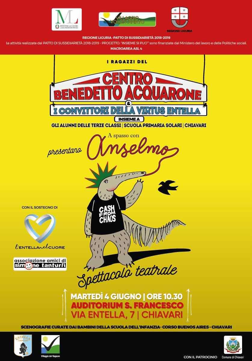 """Martedì 4 giugno 2019 all'Auditorium San Francesco di Chiavari lo spettacolo teatrale """"A spasso con Anselmo"""""""