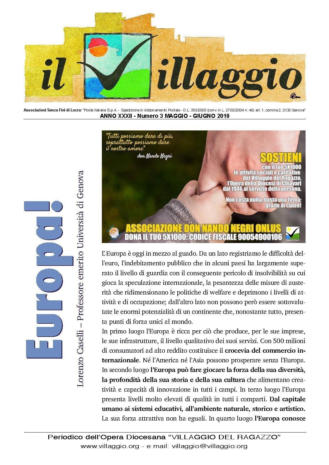 Periodico Il Villaggio - Anno XXXI n°3 maggio-giugno 2019