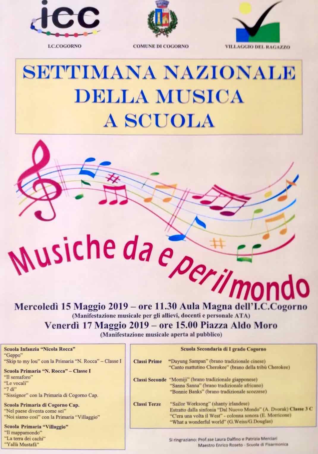 """Settimana Nazionale della Musica a Scuola: a Cogorno lo spettacolo """"Musiche da e per il mondo"""" a sostegno del progetto Lucma"""