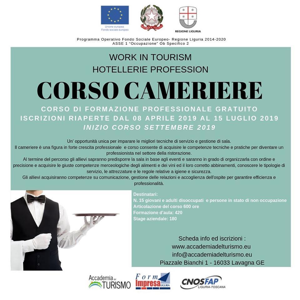 Accademia del Turismo - Corso Cameriere - Iscrizioni aprile luglio 2019