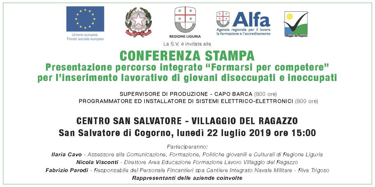 Invito Conferenza Stampa 2019.07.22 Presentazione percorsi Formarsi per competere