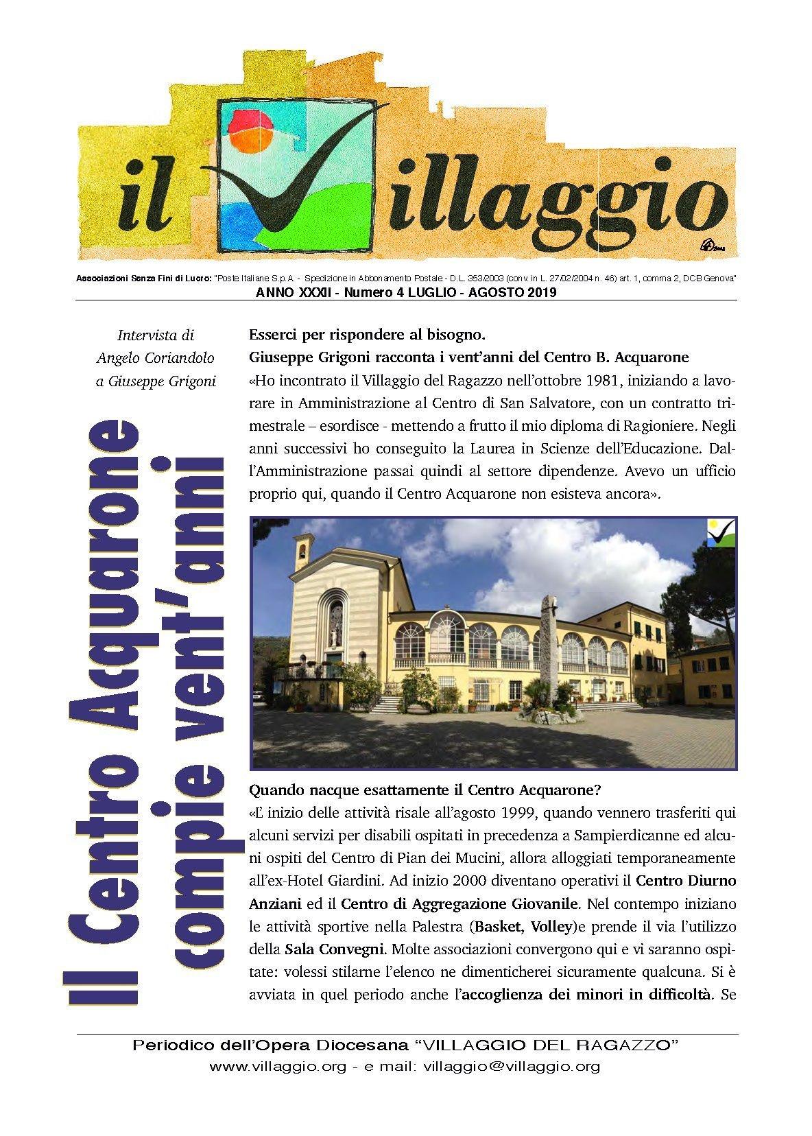 Periodico Il Villaggio - Anno XXXI n°4 luglio-agosto 2019