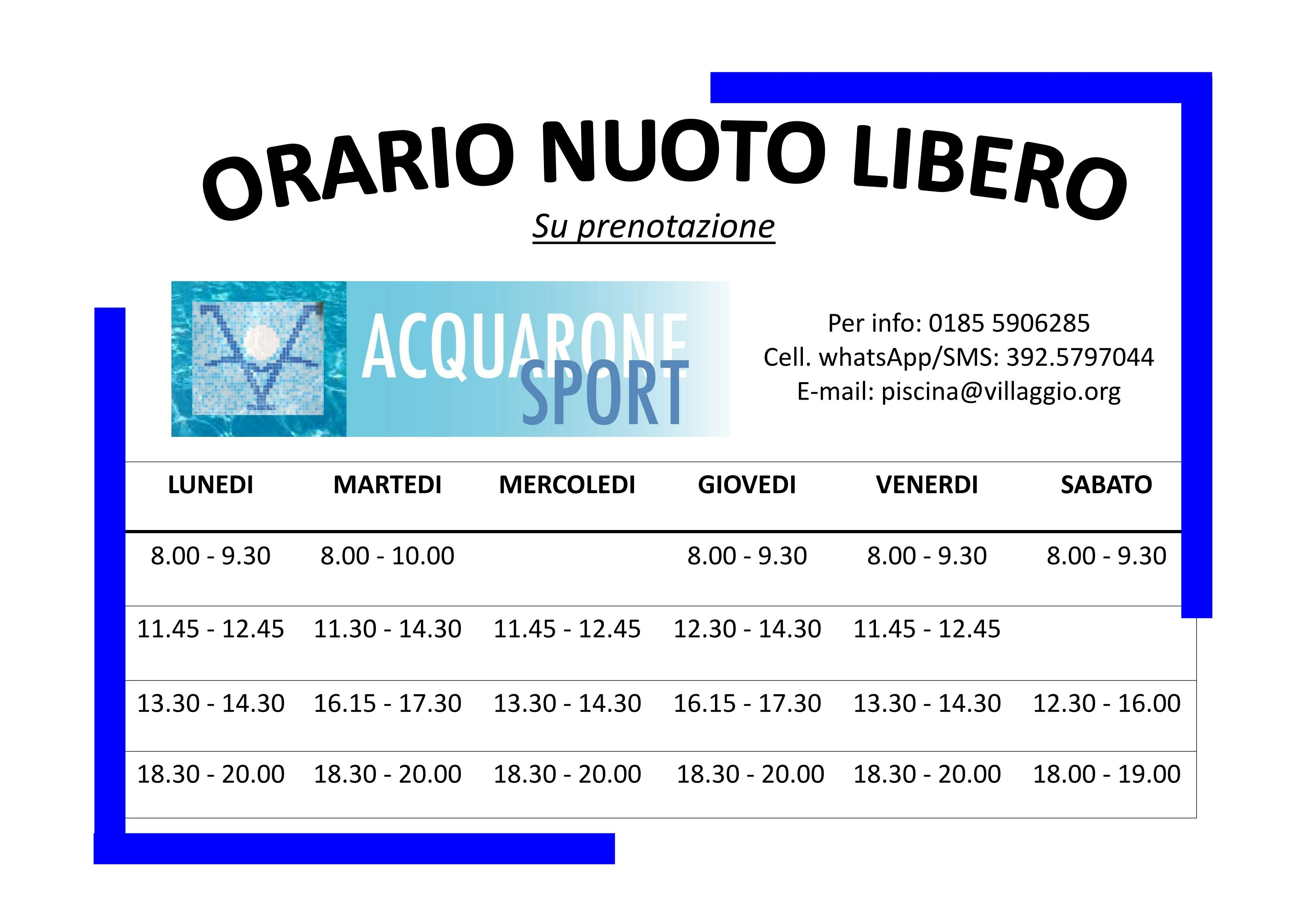 Acquarone Sport - Orario nuoto libero 2019-2020