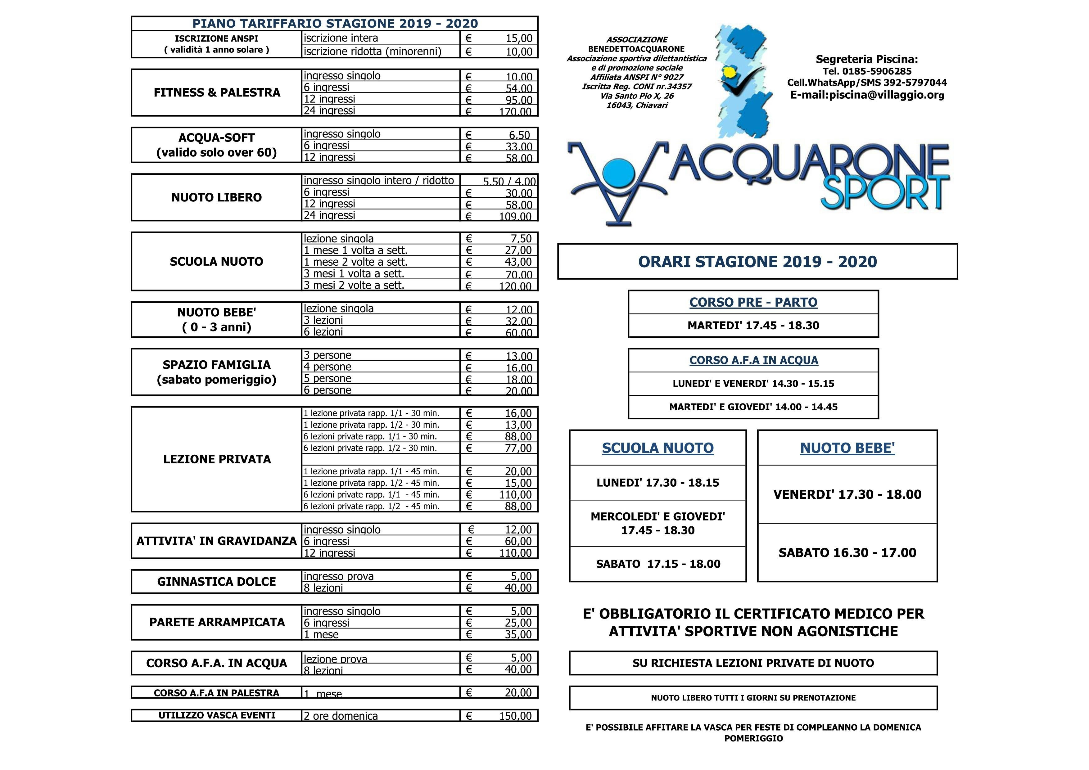 Acquarone Sport - Prezzi 2019-2020
