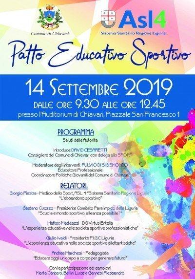 Locandina Convegno Patto Educativo Sportivo 2019