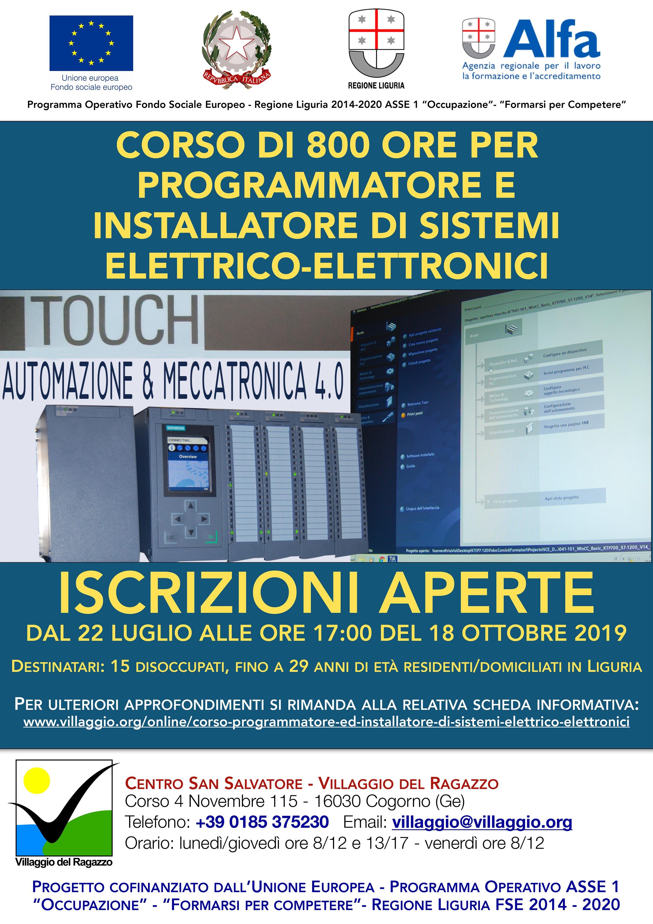 Villaggio del Ragazzo - Locandina proroga Iscrizioni Corso Programmatore e installatore di Sistemi Elettrico Elettronici