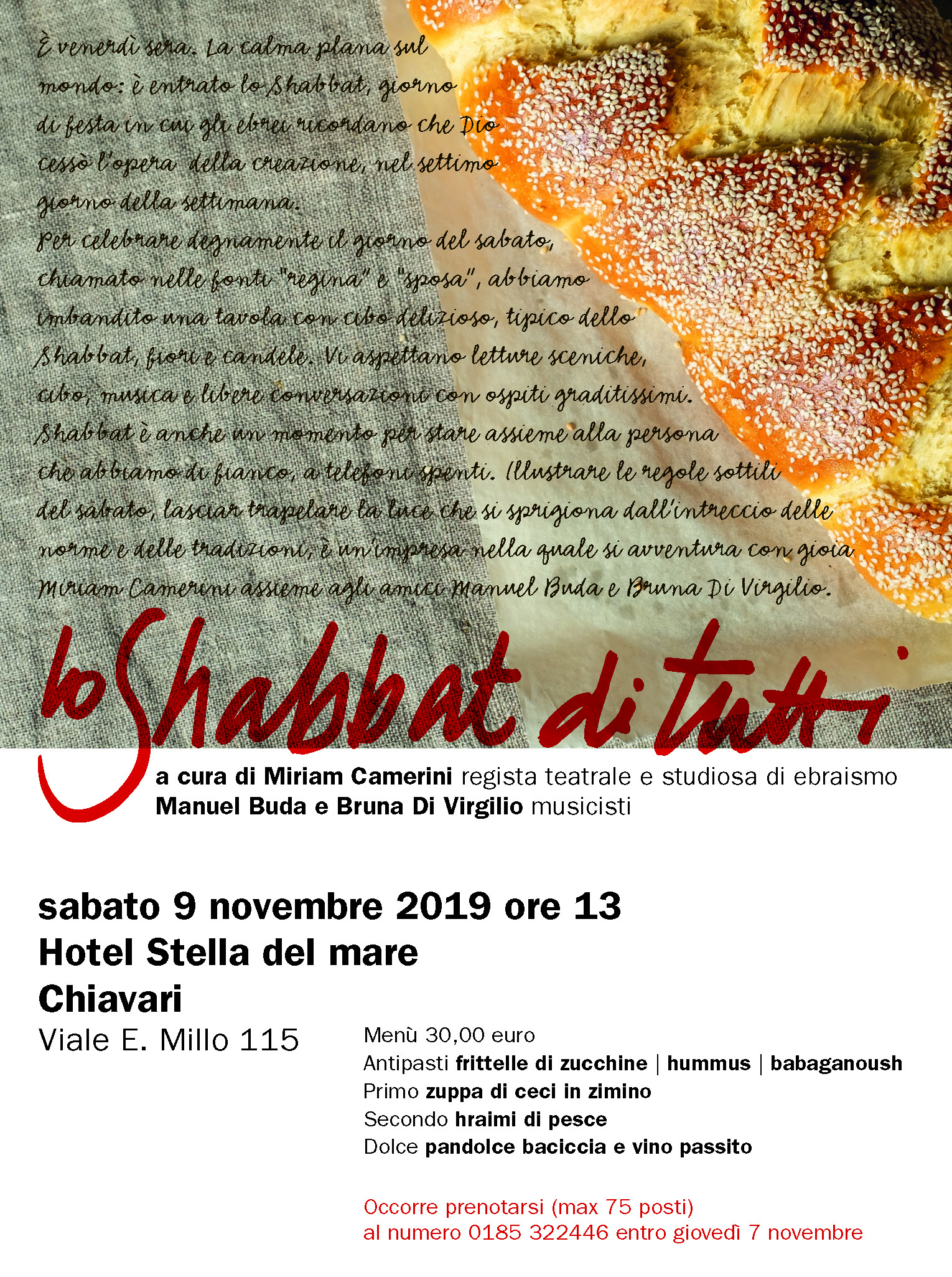 """""""Lo Shabbat di tutti"""" sabato 9 novembre all'Hotel Stella del Mare di Chiavari"""