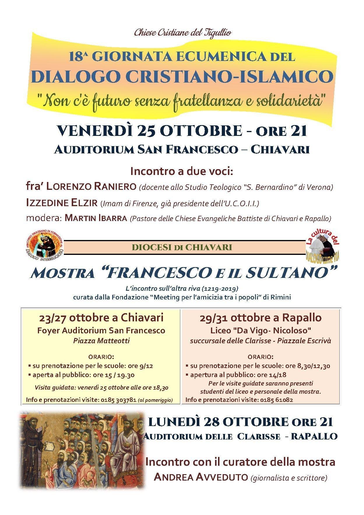 Gli appuntamenti della Diocesi di Chiavari in occasione della Giornata ecumenica del dialogo cristiano-islamico 2019