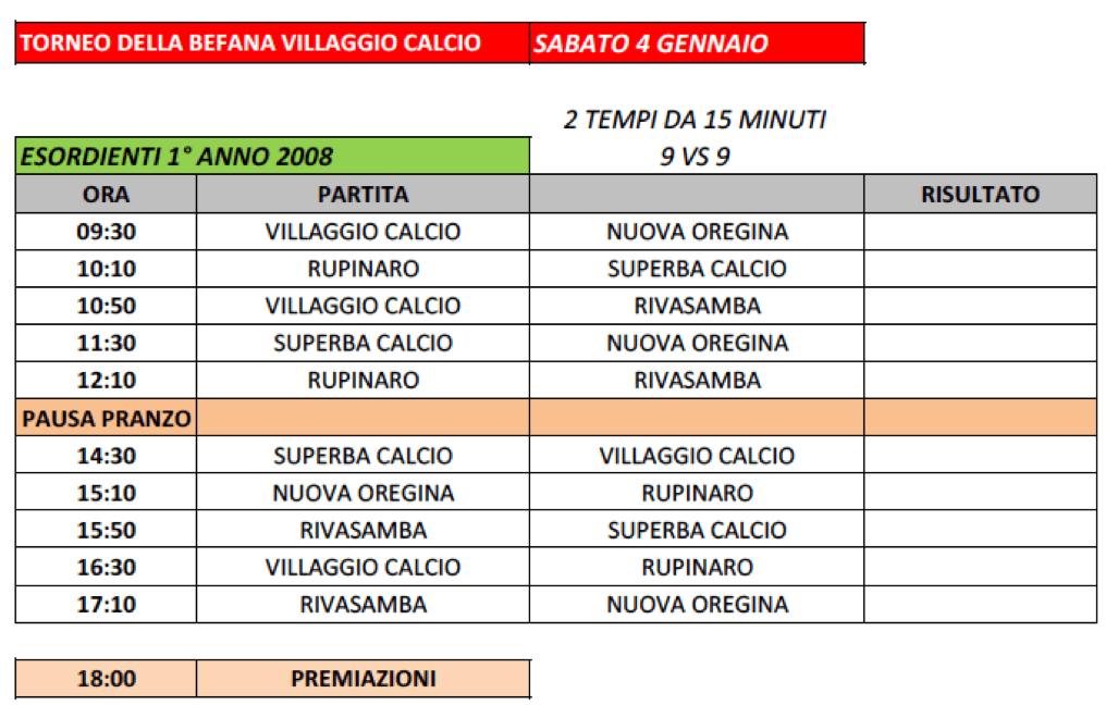 Villaggio Calcio - Torneo della Befana 2020 - Calendario Esordienti 2008