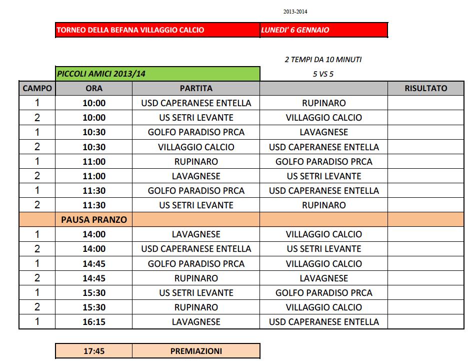 Villaggio Calcio - Torneo della Befana 2020 - Calendario Piccoli Amici 2013-14