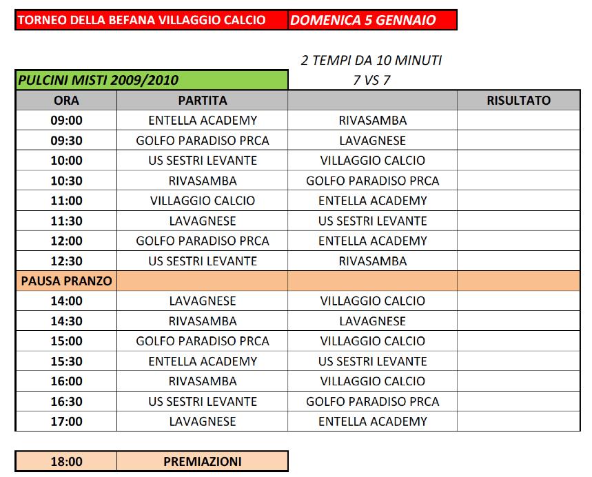 Villaggio Calcio - Torneo della Befana 2020 - Calendario Pulcini Misti 2009-10