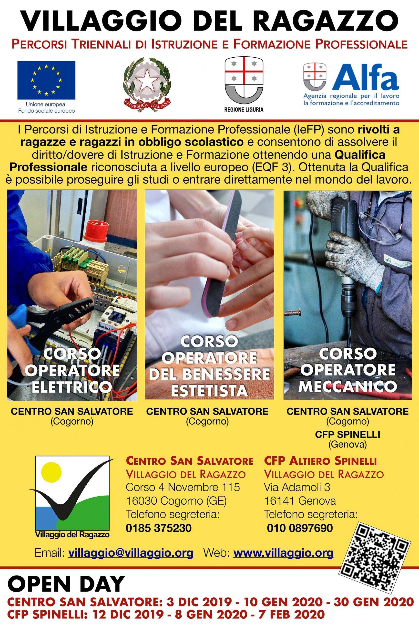 Venerdì 10 gennaio 2020 Open Day Formazione Professionale al Centro San Salvatore – Villaggio del Ragazz