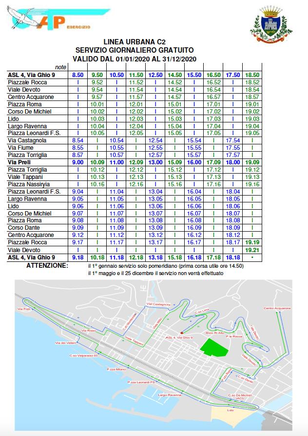 Linea Urbana C2 Servizio giornaliero gratuito - Orario 2020