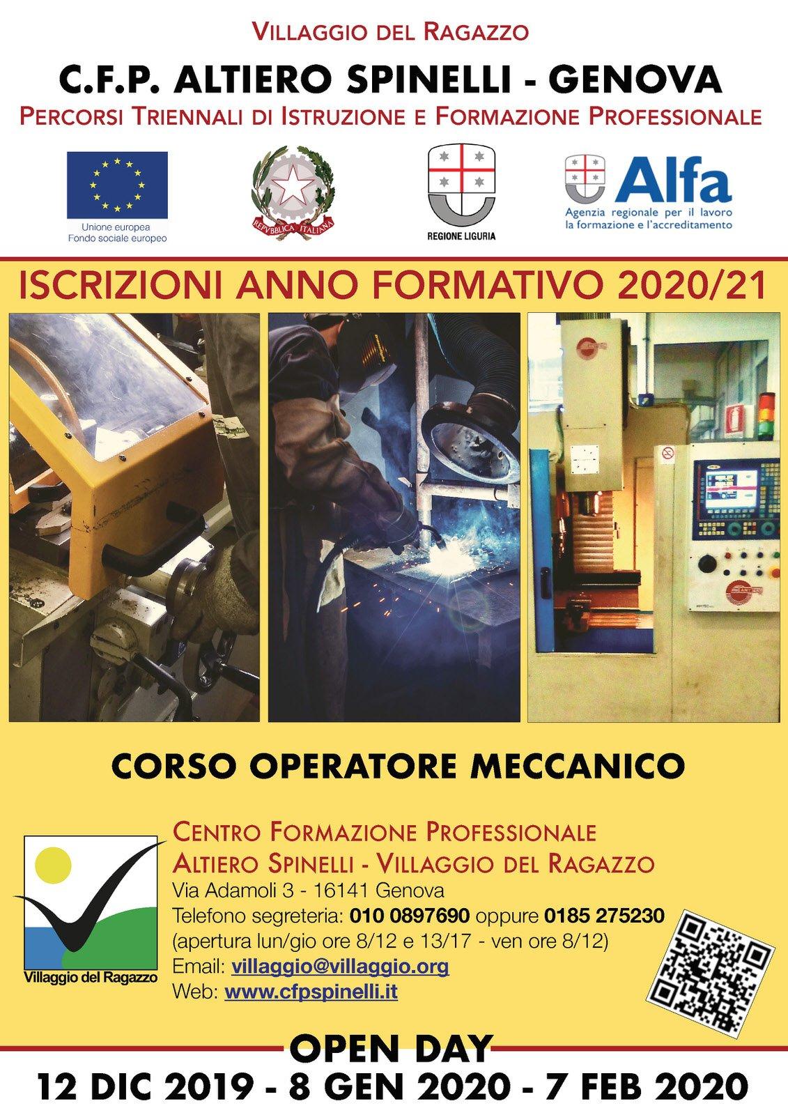 Giovedì 12 dicembre 2019 Open Day Corso Operatore Meccanico del CFP Spinelli – Villaggio del Ragazzo di Genova